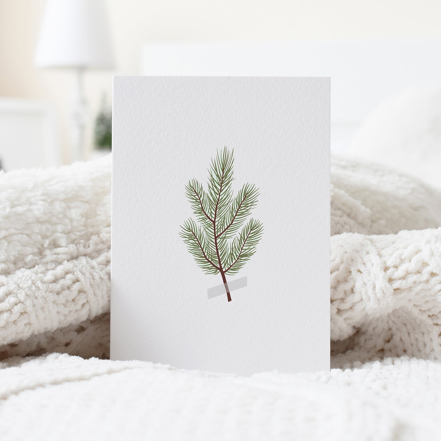 pine branch minimalist Christmas card elemente design cozy home greeting card