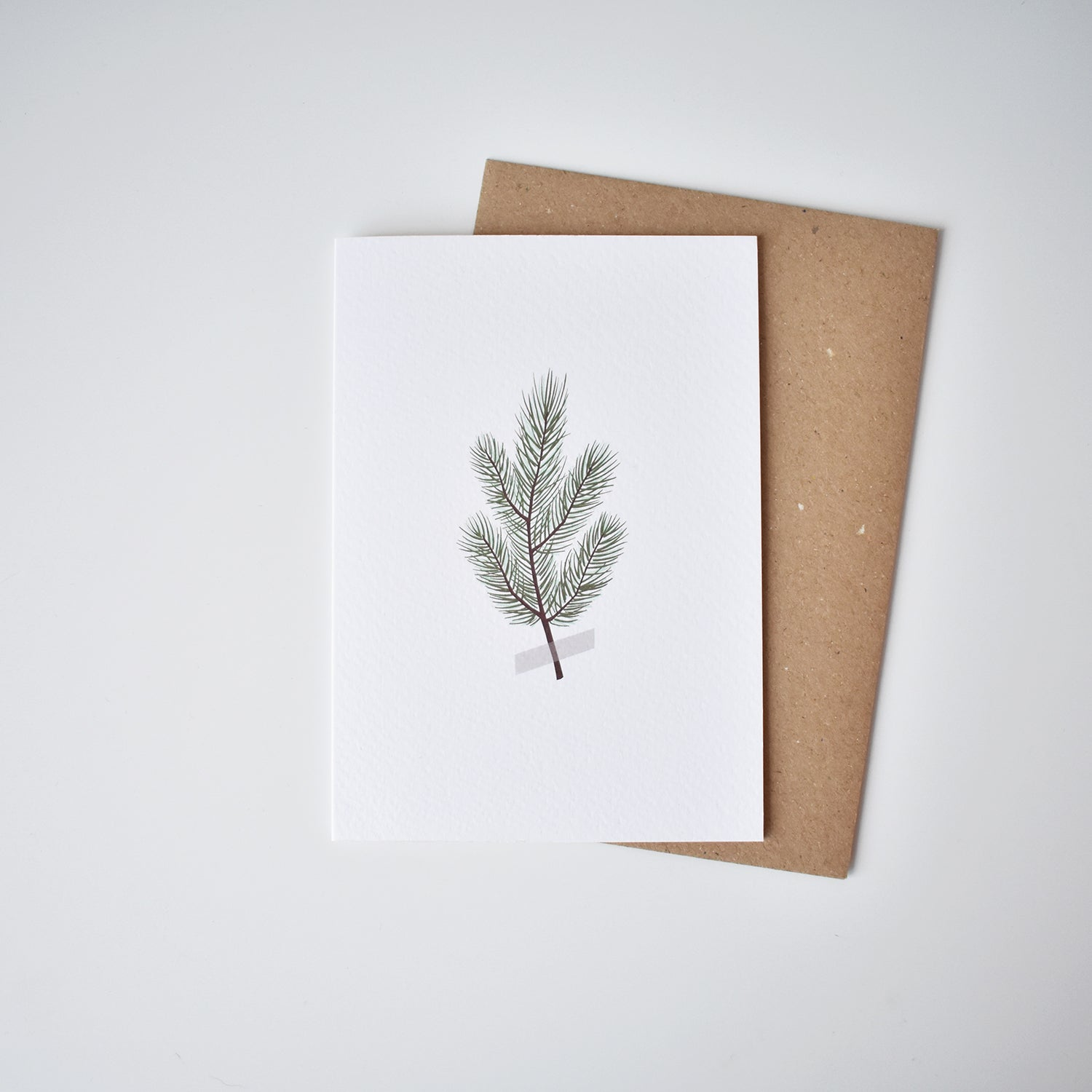 pine branch minimalist Christmas card elemente design