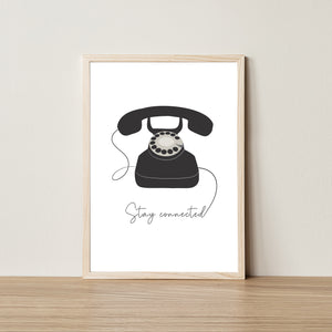 vintage telephone poster stay connected elemente design