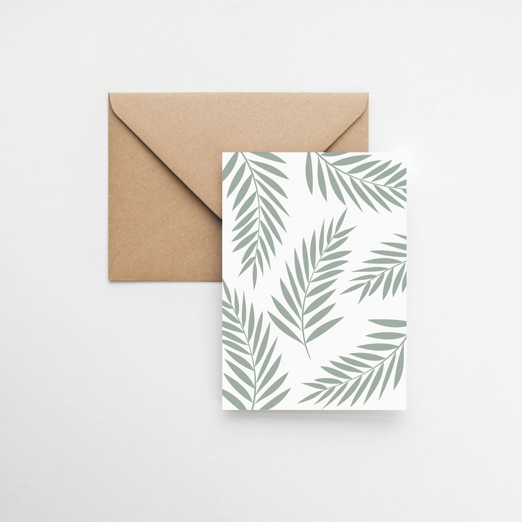 Botanical palm leaves greeting card