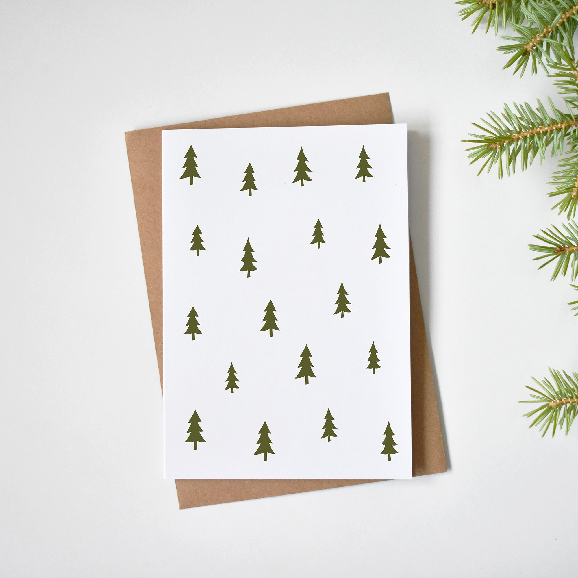 Minimalist Christmas trees pattern Christmas cards elemente design
