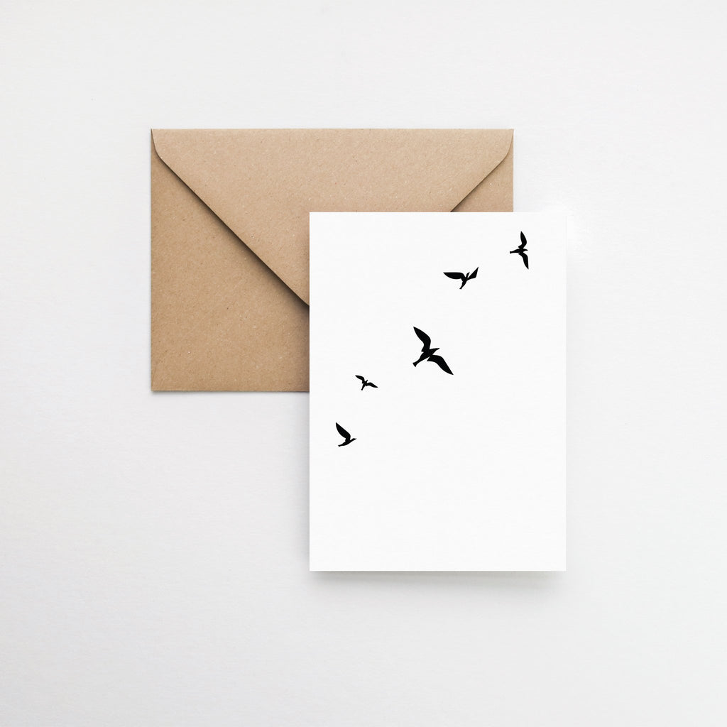 flying birds minimalist greeting card