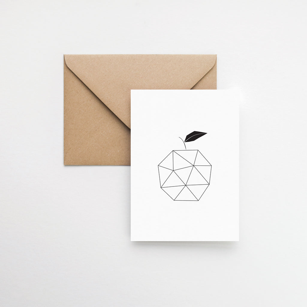 Modern geometric apple greeting card elemente design