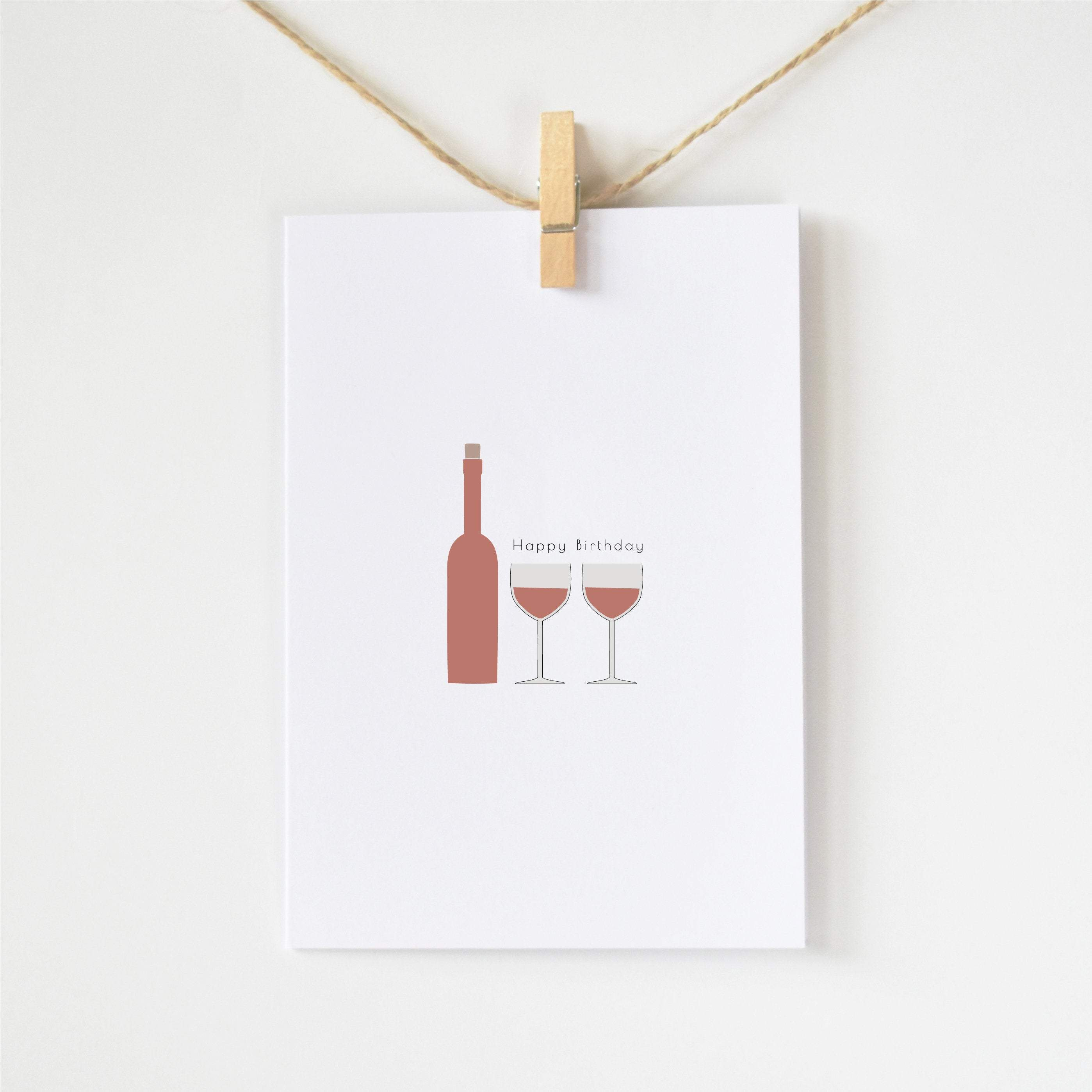 red wine minimalist birthday card elemente design