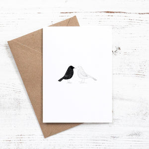 black and white birds greeting card elemente design