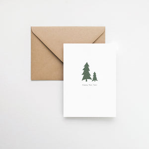 Happy New year card Christmas trees greeting card