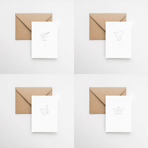 origami pack 4 greeting cards elemente design