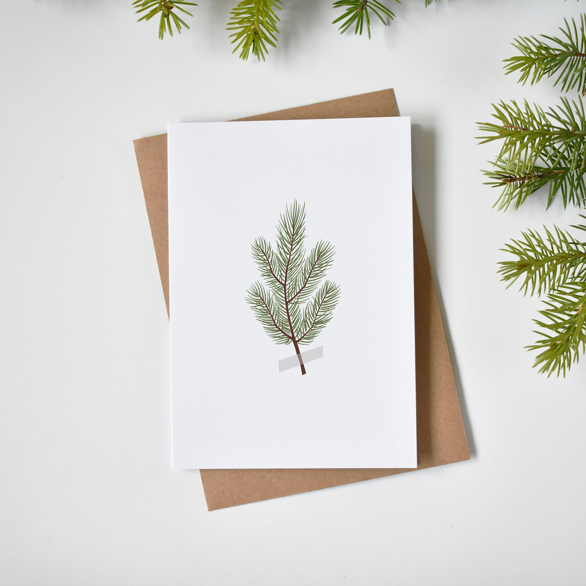Pine branch Christmas card elemente design