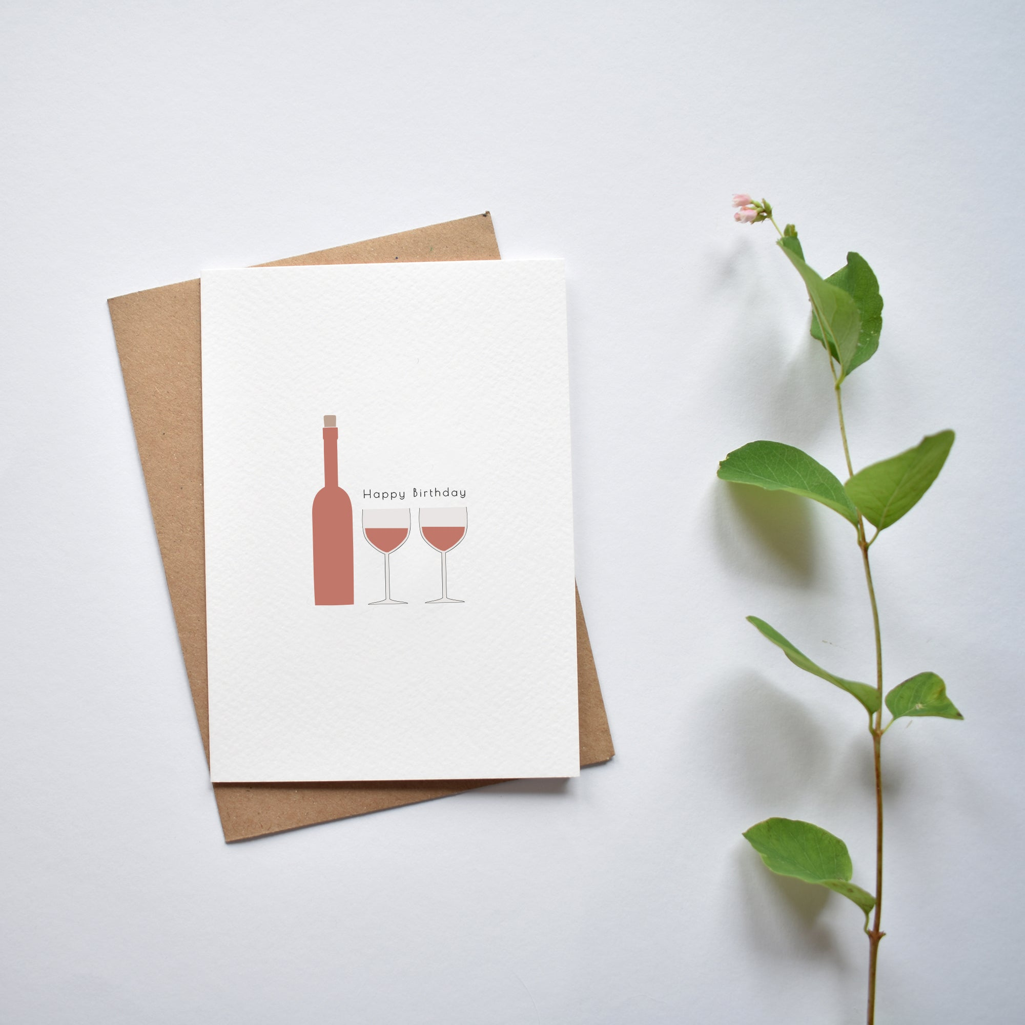 Birthday red wine greeting card elemente design