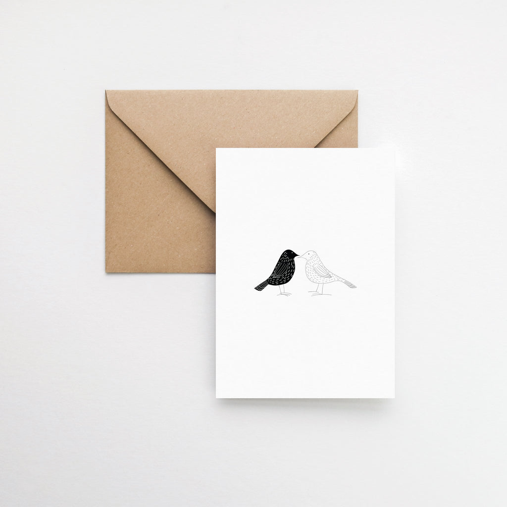 scandinavian two birds greeting card elemente design