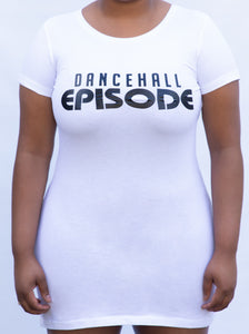 Dancehall Episode Signature T-Shirt Dress - WHITE