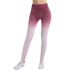 Kureas Fitness Leggings Women Stretchy Workout Push Up High Waist Butt Skinny Pants Breathable Quick dry Gradient Macarons on AliExpress - Saikin-rettou