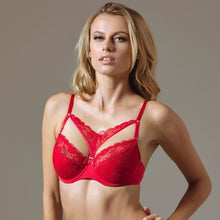 Load image into Gallery viewer, Full Coverage Lace Cage Bra Lauma Rouge - Mcburneyjunction