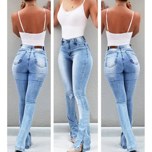 Woman Washed Ripped High Waist Vintage Jeans - Mcburneyjunction