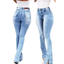 Load image into Gallery viewer, Woman Washed Ripped High Waist Vintage Jeans - Mcburneyjunction