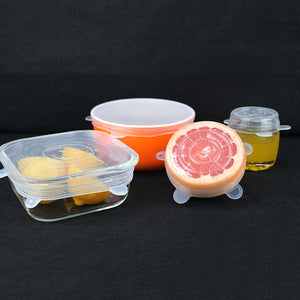 6 PCS Silicone Bowl Stretch Lids Reusable Airtight Food Wrap Covers - OneWorldDeals