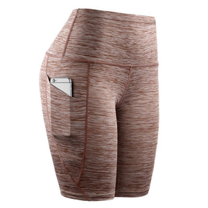 High Waist Short Leggings With Pocket - Saikin-rettou