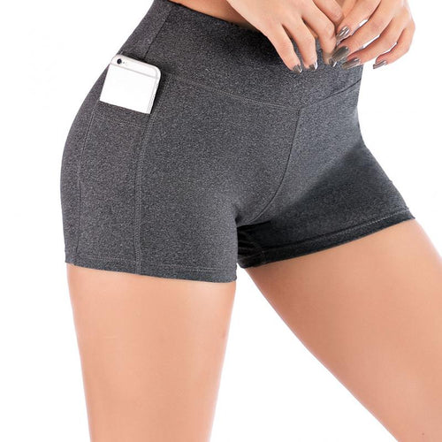 Women High Waist Short Leggings With Pocket - Saikin-rettou