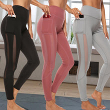 Load image into Gallery viewer, Solid Pants High Waist Mesh Sport Leggings With Pockets - OneWorldDeals
