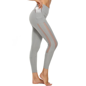 Solid Pants High Waist Mesh Sport Leggings With Pockets - Mcburneyjunction