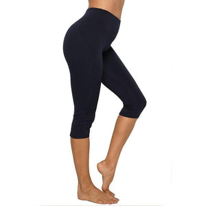 3/4 High Waist Tummy Control Capri With Pocket - Mcburneyjunction