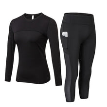 Load image into Gallery viewer, 2 Pcs Women High Waist + Long Sleeve Shirt + Pocket Capri Leggings - Mcburneyjunction