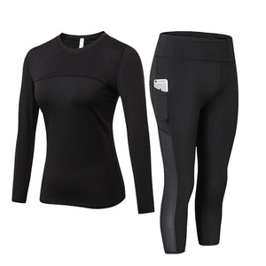 2 Pcs Women High Waist + Long Sleeve Shirt + Pocket Capri Leggings - Mcburneyjunction