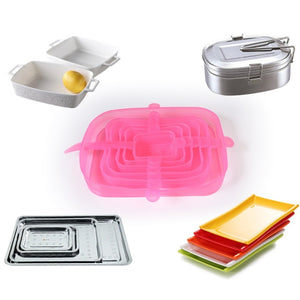 6 pcs Reusable Silicon Stretch Lids Universal Lid Silicone Food Cover - OneWorldDeals