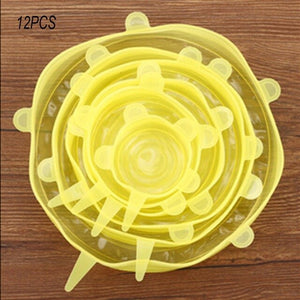 6 Pcs Kitchen Universal Accessories Silicone Reusable Food Wrap Bowl Pot Cover - OneWorldDeals