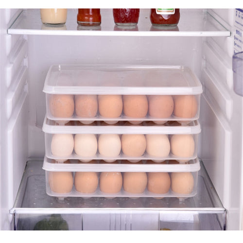 Plastic Egg Tray Holder Storage Container Organizer Bin With Lid For Refrigerator - OneWorldDeals