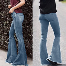 Load image into Gallery viewer, Women Mid Waist Bell Bottom Jeans - Mcburneyjunction
