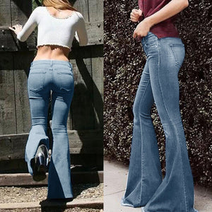 Women Mid Waist Bell Bottom Jeans - OneWorldDeals