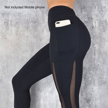 Load image into Gallery viewer, Womens High Waist Mesh Leggings With Pocket - Mcburneyjunction