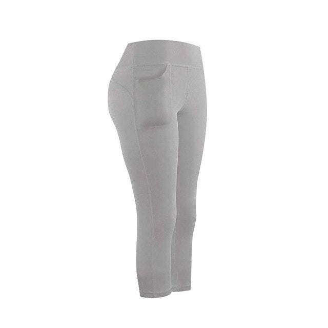 Womens High Waist Capri With Pocket - Mcburneyjunction