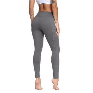 Womens High Waist Tummy Control Leggings with Pockets - Mcburneyjunction
