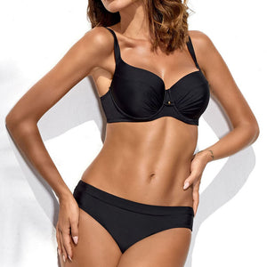 Solid Color Two Piece Bikini Set - Saikin-rettou
