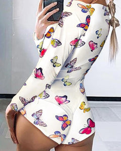 Low Cut Long Sleeve Print Lounge Romper - Mcburneyjunction