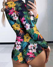 Load image into Gallery viewer, Low Cut Long Sleeve Print Lounge Romper - Mcburneyjunction