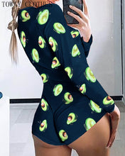 Load image into Gallery viewer, Low Cut Long Sleeve Print Lounge Romper - OneWorldDeals
