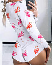 Load image into Gallery viewer, Low Cut Long Sleeve Print Lounge Romper - Saikin-rettou
