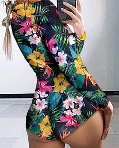 Low Cut Long Sleeve Print Lounge Romper - Saikin-rettou