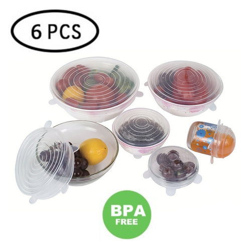 6 PCS Silicone Bowl Stretch Lids Reusable Airtight Food Wrap Covers - Mcburneyjunction