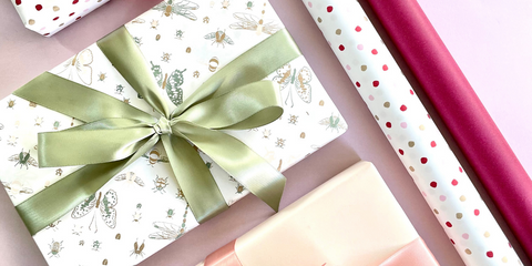 Gift wrapped in Papillon wrapping paper and tied with double satin ribbon in sage.