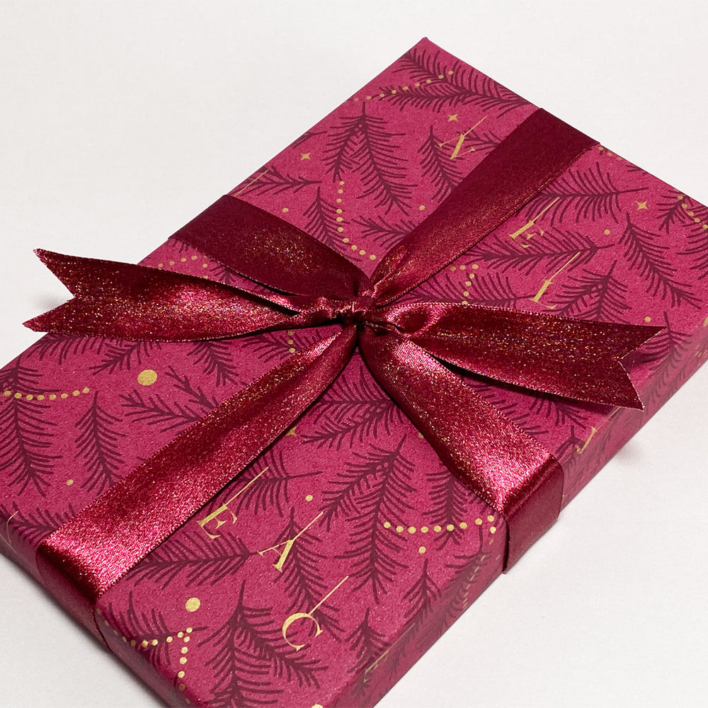 Double Satin Ribbon - Marsala/Gold