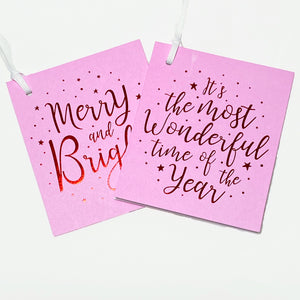 Merry & Bright Gift Tags - Pink/Red (2pk)