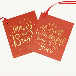 Load image into Gallery viewer, Merry & Bright Gift Tags - Red/Gold (2pk)