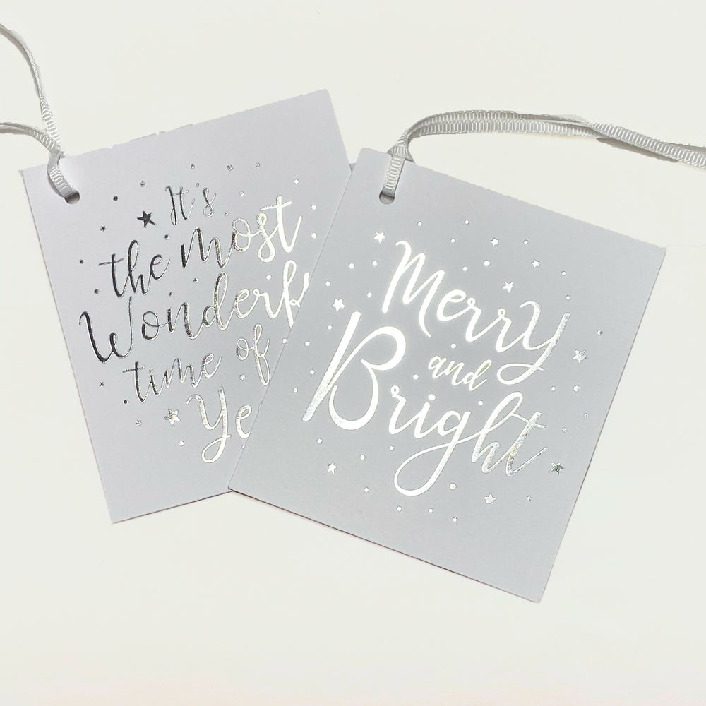 Merry & Bright Gift Tags - White/Silver (2pk)