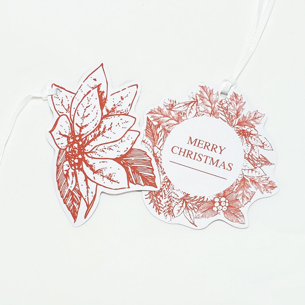 Load image into Gallery viewer, Fleur de Noel Gift Tags - White/Red (2pk)