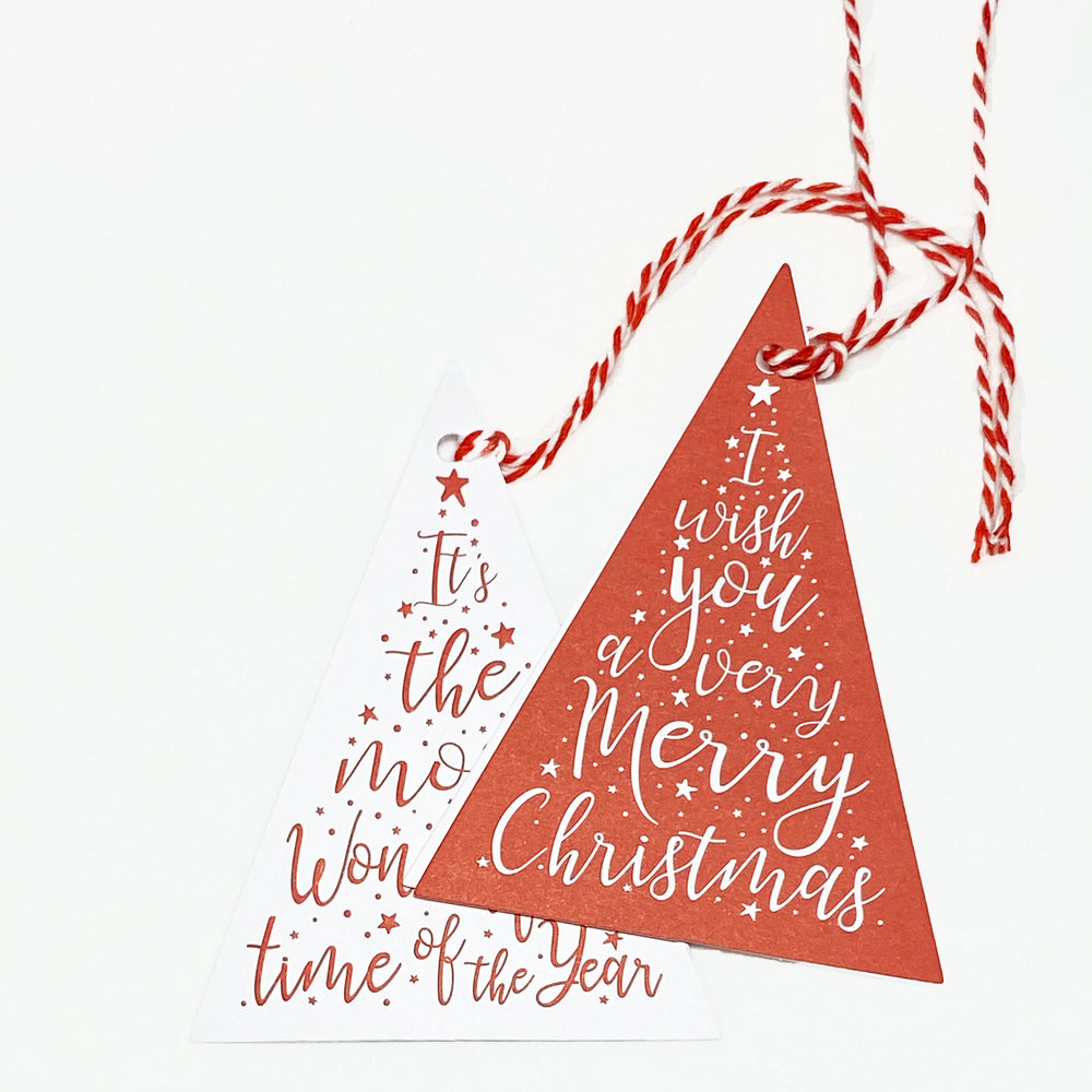 Christmas Wishes Gift Tags - Red/White (2pk)
