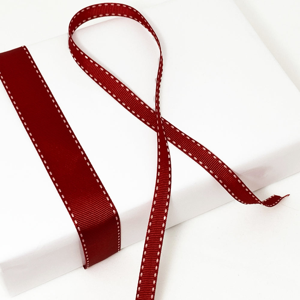 Grosgrain Ribbon Saddle Stitch - Red/White